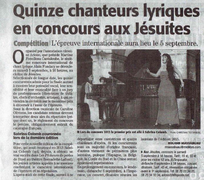 Concours International Lyrique Alain Fondary
